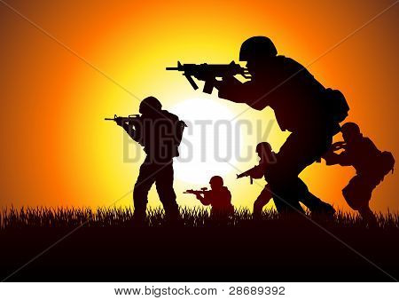 Silhouette illustration of soldiers in assault formation poster