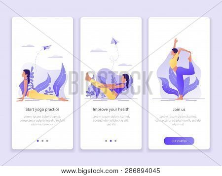 Yoga School, Studio, Class. Onboarding Screens User Interface Kit. Modern User Interface Ux, Ui Scre