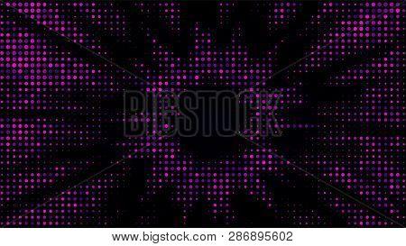 Festive Shiny Neon Background. Halftone Gradient Pattern Vector Illustration. Explosion, Salute. Blu