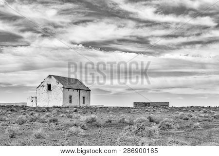 Old Ruins In The Tankwa Karoo In The Northern Cape Province. Monochrome