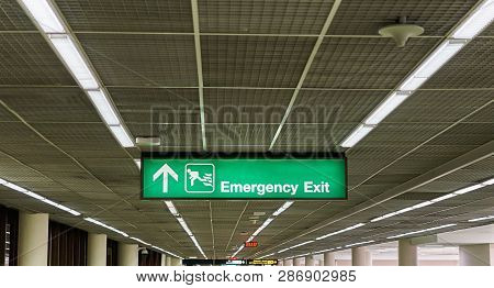 Emergency Exit Information Board Sign International Airport Terminal