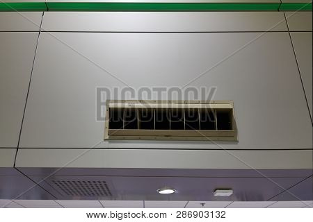 Outlet Of Air Condition On Wall With Copy Space At International Airport Terminal.