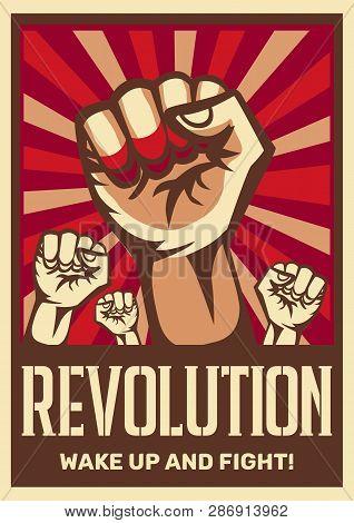 Raised Fist Vintage Constructivist Revolution Communism Promoting Poster Symbolizing Unity Solidarit