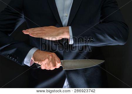 Criminal With Big Knife Hidden. Cold Weapon, Burglary, Homicide, Murder Scenery