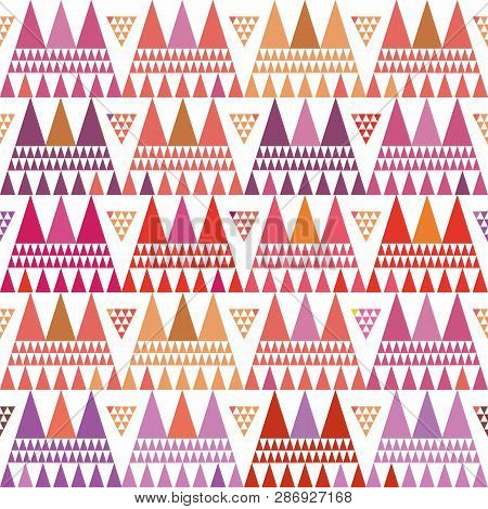Fresh Pink, Purple And Orange Boho Style Triangle Clusters. Repeat Vector Pattern On White Backgroun