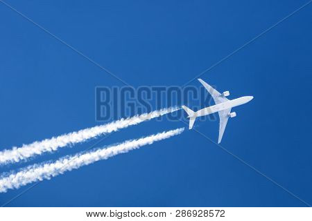 Airplane Big Two Engines Aviation Airport Contrail Clouds