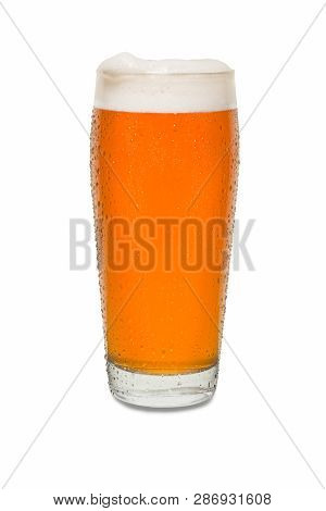 Craft Pub Beer Glass With Dollop Of Foam On Lip Of Glass #1.