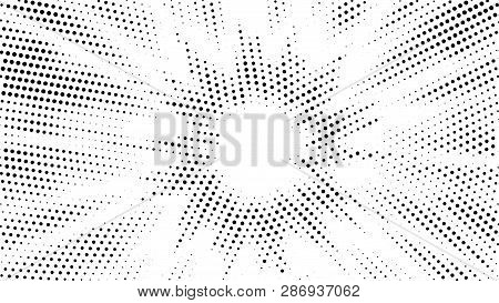 Halftone Gradient Explosion Pattern. Abstract Halftone Vector Dots Background. Fireworks Dots Patter