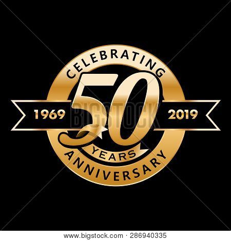 50th Anniversary. Gold 3d Numbers. Poster Template For Celebrating 50th Anniversary Event Party. Vec