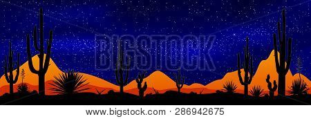Desert With Cacti On The Background Of The Night Starry Sky. Stony Desert At Night. Desert Landscape
