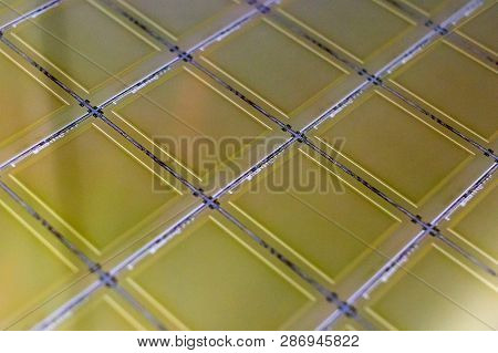 Silicon Wafer With Microchips - A Wafer Is A Thin Slice Of Semiconductor Material, Such As A Crystal
