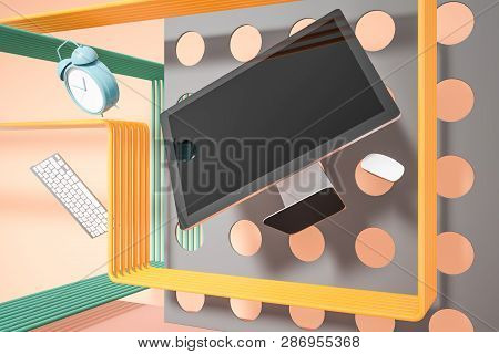 Computer Over Abstract Geometric Background