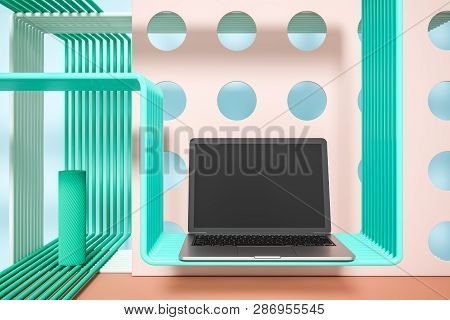 Laptop Over Geometric Background With Pipes