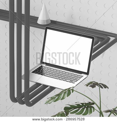 Side View Of Laptop With Mock Up Screen Standing On Dark Gray Pipe With Cone On It Over Gray Backgro