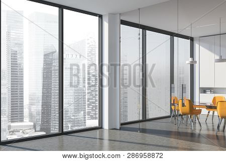 Corner Of Office Meeting Room With White Walls, Concrete Floor, Glass Doors, Panoramic Window, Glass