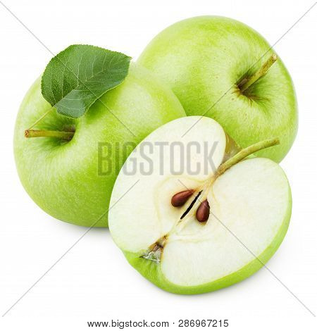 Group Of Ripe Green Apple Fruits With Apple Half And Green Leaf Isolated On White Background. Apples