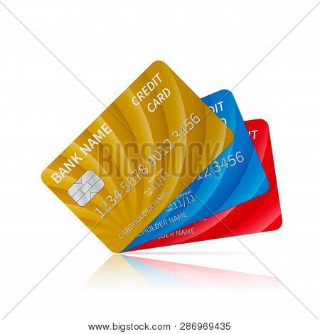 Three Realistic Glossy Credit Cards With Reflection Isolated On White. Detailed Plastic Card With Si