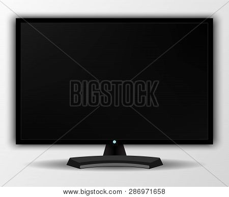 Modern Tv Screen.display Wide Tv, Digital Realistic Black Screen Illustration. 4k Tv Screen Vector.