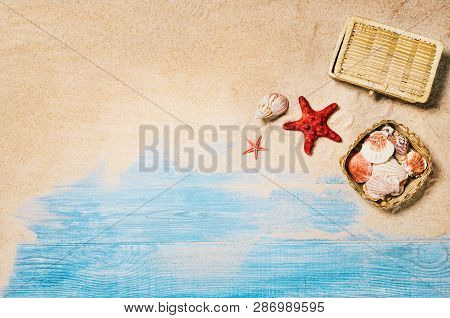 Top View Beach And Marine Planks. Background With Copy Space