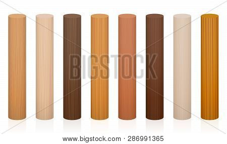 Wooden Posts. Collection Of Wooden Rods, Different Colors, Glazes, Textures From Various Trees To Ch