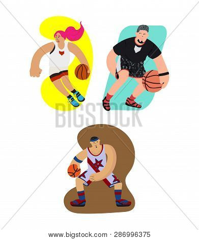 Cartoon Basketball Player With Dribbling Motion And Exaggeration Vector