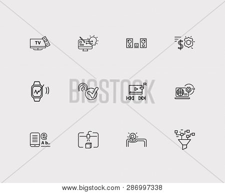 Electronics Icons Set. Steamroller And Electronics Icons With Smart Watch, Responsive Design And Web