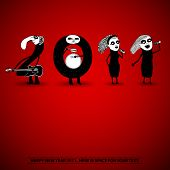 2011 New Years card with doodle number band poster