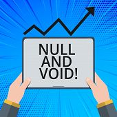 Handwriting text Null And Void. Concept meaning Cancel a contract Having no legal force Invalid Ineffective. poster