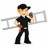 Chimney Sweeper building chimney cartoon illustration, can be download in vector format for unlimited image size poster