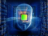 Collage of human head computer chip digits and various abstract elements on the subject of intelligence science technology human and artificial mind poster