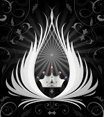 Abstract representation of a crown with swirls poster