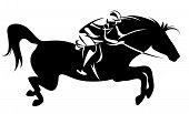 jumping horse and jockey - equestrian sport emblem poster