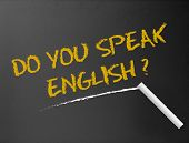 Dark chalkboard with a question. Do you speak English? poster