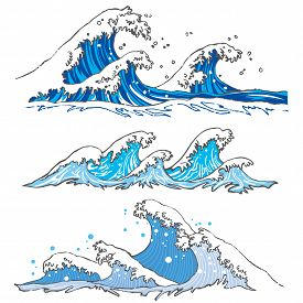 Sea Wave Set On A White Background