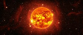 Sun With Stars In Space. Elements Of This Image Furnished By Nasa
