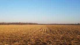 Flat Vast Open Unplowed Brown Dirt Farm Land Field Under A Clear Blue Sky In Winter