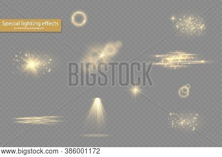 Collection Yellow Light Effects On A Transparent Background, Spotlights, Flare, Explosion And Stars,