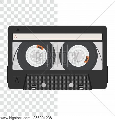 Cassette Tape. Realistic Retro Audio Cassette Tape. Transparent Background.  Vector Illustration.