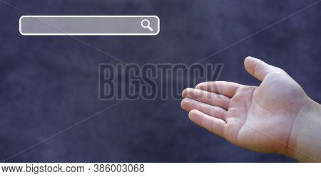 Search Button On Virtual Screen And Open Buisnessman Hand On Modern Dark Blue Background.