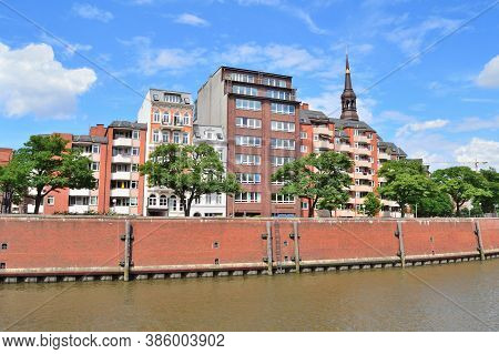Germany. Beautiful Quay In Hamdurg In A Sunny Summer Day
