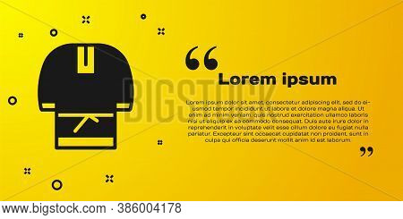 Black Kosovorotka Is A Traditional Russian Shirt Icon Isolated On Yellow Background. Traditional Nat