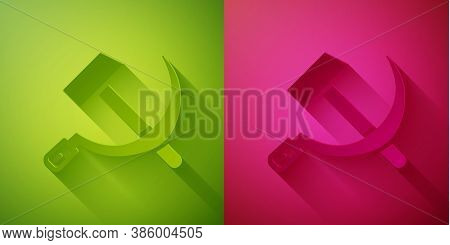Paper Cut Hammer And Sickle Ussr Icon Isolated On Green And Pink Background. Symbol Soviet Union. Pa