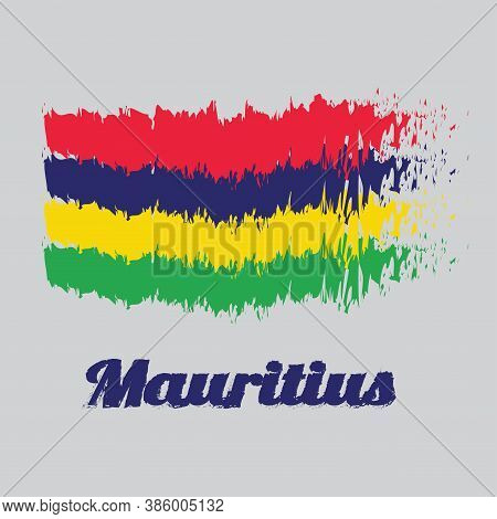 Brush Style Color Flag Of Mauritius, Four Horizontal Bands Of Red Blue Yellow And Green. With Text M
