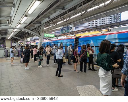Chong Nonsi Bts Station Bangkok-15 September 2020:bts Station In The Middle Of The Central Business