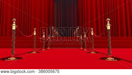 Long Red Carpet Between Rope Barriers On Entrance. Way To Success On The Red Carpet. The Path To Glo