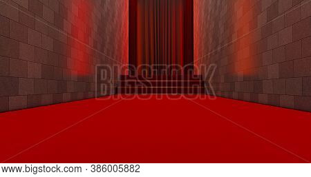 Long Red Carpet On Entrance. Way To Success On The Red Carpet. The Path To Glory. Stairway Go Up. 3d