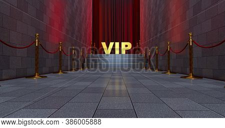 3d Render Of Red Carpet On The Stairs With Golden Vip Word. The Path To Glory. Stairway Go Up. Busin
