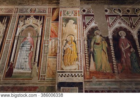 Florence, Italy - February 11, 2018: Church Of San Miniato Al Monte, In Florence, Italy. Detail Of T