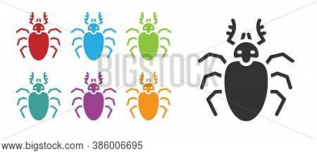 Black Beetle Deer Icon Isolated On White Background. Horned Beetle. Big Insect. Set Icons Colorful.