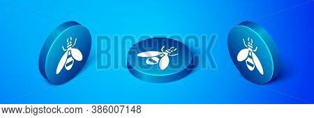 Isometric Bee Icon Isolated On Blue Background. Sweet Natural Food. Honeybee Or Apis With Wings Symb
